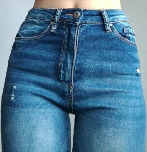 ❤️ Sexy distressed zerrissene blue jeans❤️ jeggins Highwaist skinny stretch