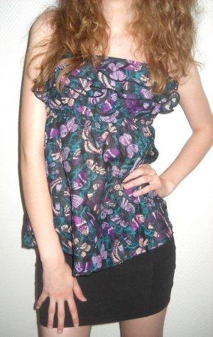 Sexy H&M Bandeau Top Tunika Bluse Schmetterlinge lila grün Neu 38 40 42 S M L