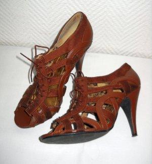 SEXY H&M High Heels Schuhe Sandalen Pumps braun Schnürung Zeh Riemchen 38,5 39