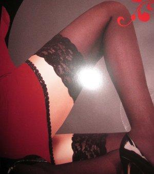 sexy halterlose Strümpfe Nylons Nylon Strumpf schwarz Spitzenrand 34 36 38 S NEU