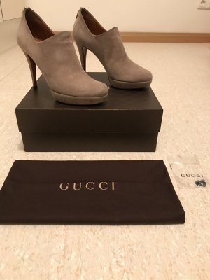 Gucci Platform Booties silver-colored suede
