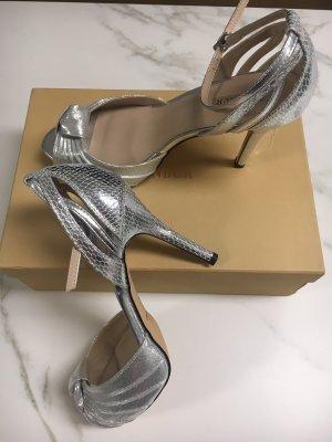 Menbur Platform High-Heeled Sandal silver-colored