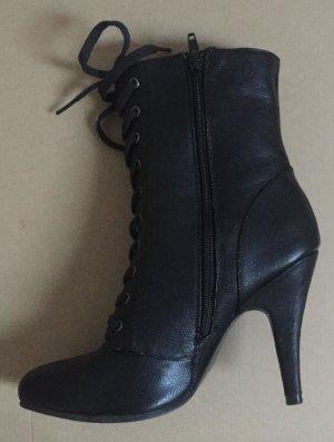 Sexy High Heel Stiletto Schnür-Stiefeletten aus Lederimitat Gr. 38