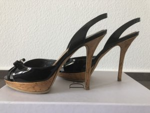 Christian Dior Hoge hakken sandalen zwart-camel Leer