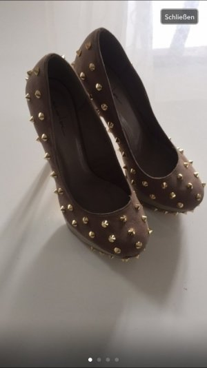 Pumps gold-colored-grey brown