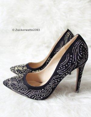 Sexy High Heels mit Nieten, Studded Black Heels 35,5