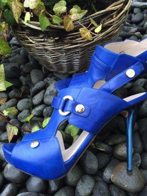 Sexy High Heels von Escada, Gr 40, royalblau, Plateau