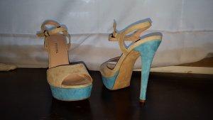 Sandales à talons hauts et plateforme bleu clair-blanc cassé cuir