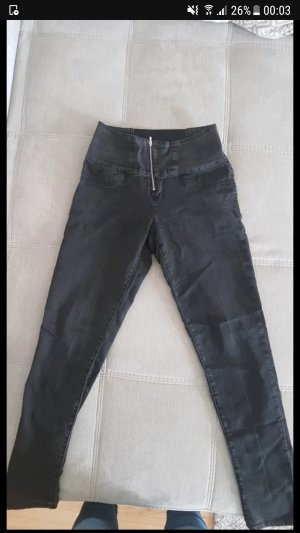 High Waist Jeans black-silver-colored