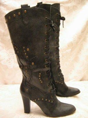 Sexy Hochschaft Boots Schnür Stiefel Gr 36 Anthrazit 9cm Western Lady Gothic
