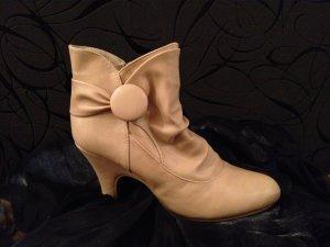 Sexy hohe Stiefeletten Schuhe beige Absatz