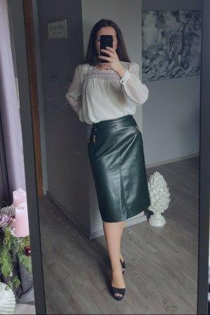 Sexy hohe Taille Lederrock aus Italien - Gr 38 - dunkelgrün - Trend Blogger Rock von Mondi neu