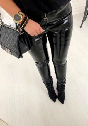 Sexy Hose Wet Look Röhre Skinny Stretchhose Blogger Hose lange Hose schwarz Größe S/36