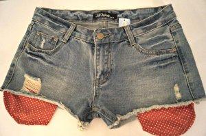 sexy Hotpants Jeans mit roten Taschen