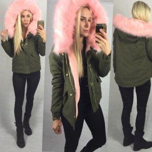 Sexy  jacke parka parker Jacke mantel winter khaki tranchcoat rosa 34/36 neu