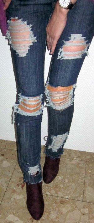 SEXY Jeans Denim Hose Lang Röhre destroyed Löcher Netz DIY blau Tally Weijl 34 XS wie NEU