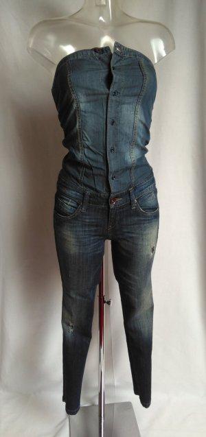 Benetton Hoge taille jeans blauw-staalblauw