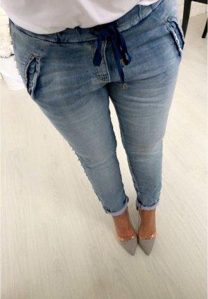 Sexy Jeans Hose mit Perlen bestickt Jogpants Hüfthose Röhre Skinny Blogger Hose Größe /38