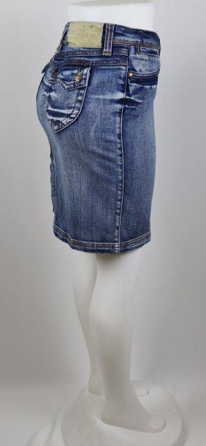 Sexy Jeans Minirock Skirt Dollhouse Größe 38 40 M Blau Blue Denim Used Look Schlitz Stretch Taschen Pin Up Rock&Roll 50er Retro