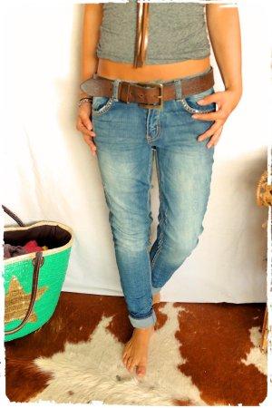 Sexy Jeans mit Nietenstern passt Gr.L bis XL