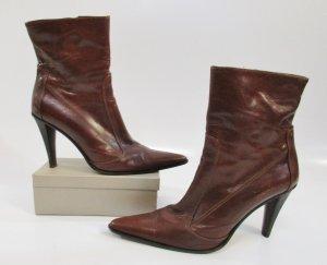 Sexy Killer High Heels Spitz Booties Stiefel Ricardo Cartillone Berlin Größe 41 Leder Braun Cognac Made in Italy Stiefeletten