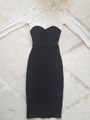 American Apparel Vestido de tela de jersey blanco-negro
