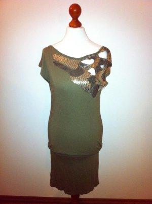 sexy Kleid mit Pailetten und Wasserfallausschnitt, Gr.34