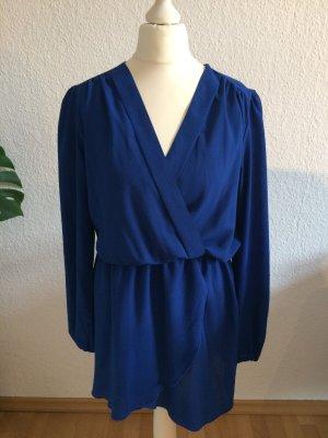 Sexy Koboltblaues Kleid mit tiefem Ausschnitt | Wickelkleid | Größe S/M