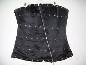 sexy Korsage Bustier-Top Gr. M 38 von Amisu in Satinoptik mit silbernen Nieten