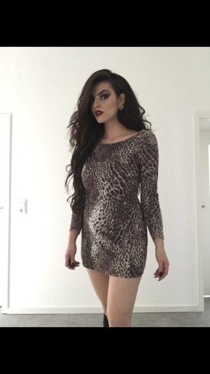 sexy langärmliges kleid im leomuster/animal print