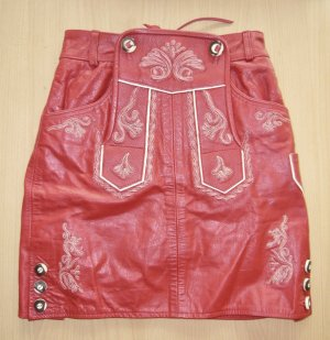 Traditional Skirt dark red leather