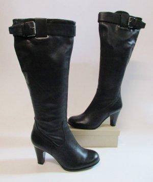 Sexy Lederstiefel 5th Avenue Größe 36 Schwarz Leder Stiefel High Heels Overknees Retro Schnalle