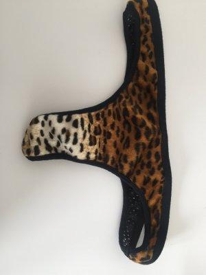 Sexy Leo Tanga Miss Sixty S 36 mesh Fake fur Mix