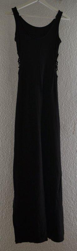 Sexy Maxikleid schwarz mit Cut Out an der Taille und Schlitz am Bein