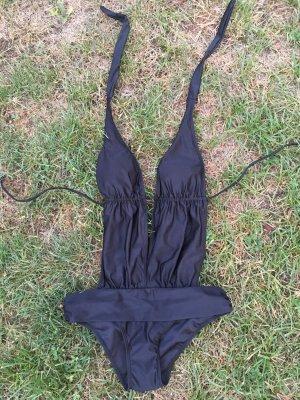 Monokini noir tissu mixte