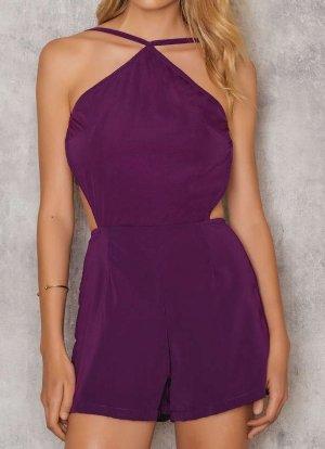 Sexy Overall Jumpsuit von Motel - purpur - komplett rückenfrei - XS NEU OP 46€
