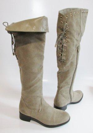 Sexy Overknees Graceland Stiefel 37 Beige flach Nieten Schnürung Schuhe Braun Boho Festival