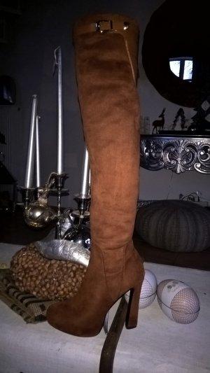 Sexy Overknees in Größe 39 aus Stretchmaterial