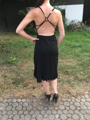 Vestido cut out negro tejido mezclado