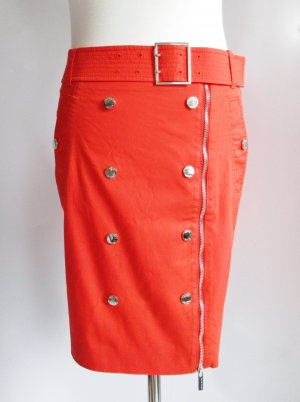 Sexy Pencil Skirt Luxus Rock Karen Millen Größe 36 UK 10 Knall Orange Rot Wickelrock Knöpfe Minirock Asymmetrisch Reißverschluss Druckknopf Gürtel