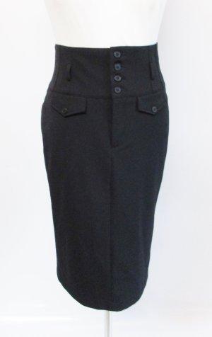 Sexy Pencil Skirt Rock MAC Größe S 36 Schwarz High Waist Knielang Knopfleiste Sekretärin Business