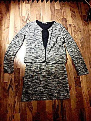 Esprit Traje de negocios blanco-negro tejido mezclado
