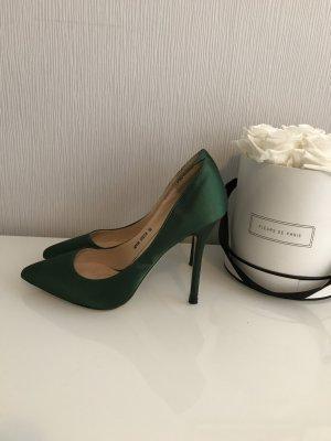 Sexy Pumps aus grünem Satin (36) zu verkaufen