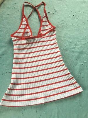Sexy Ringeltop, rot-weiß-rot, Rippshirt, V-Ausschnitt im Rücken gekreuzt, Gr. XSMALL