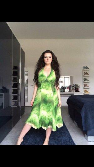sexy romantisches neckholderkleid in strahlenden grüntönen gr. 38