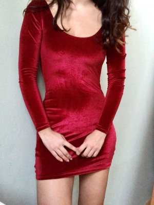 Sexy Rote Samt Kleid