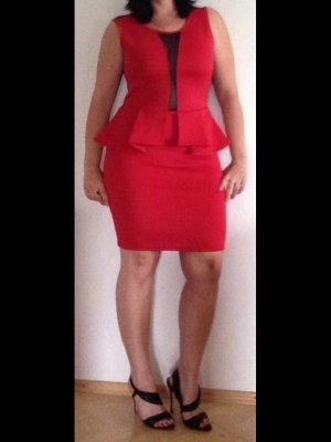 Amisu Peplum jurk rood-zwart