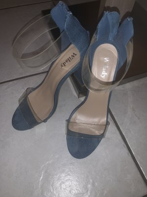 Sandalias de tacón con barra en T azul aciano