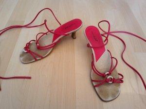 Sandalo con cinturino beige-rosso