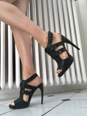 Zara Platform High-Heeled Sandal black leather